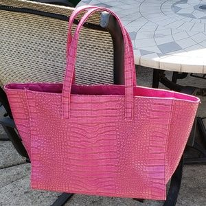 Estee Lauder Dark Pink Faux Leather Large Tote